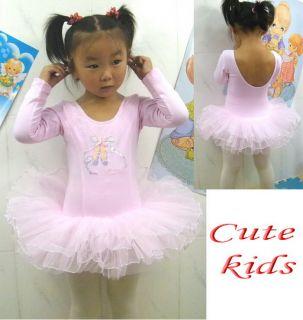Girls Party Pink Leotard Ballet Tutu Costume Long Sleeve Dance Skate Dress 3 8Y