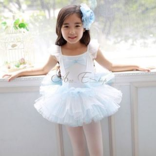 Girls Kids Dance Dress Tutu Skate Leotard Party Ballet Bowknot Costume Sz 4 7