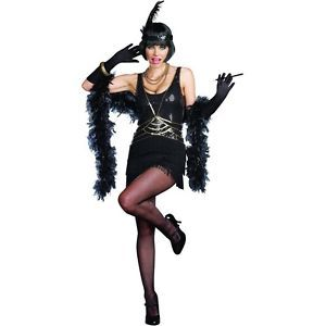 Ain'T Misbehavin Adult Black Flapper Roaring 20s Halloween Costume Std Plus Size