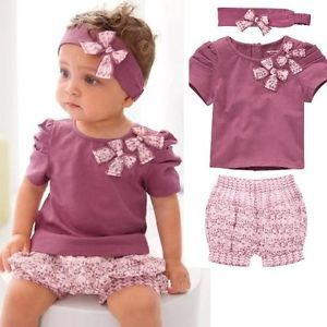 3pcs Toddler Baby Girl Infant Top Pant Headband Outfit Costume Clothes 0 3Y TYA4