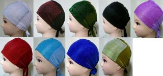 Shiny Glitter Hair Undescarf Tie Back Bonnet Cap Hijab Head Hair Cover Muslim
