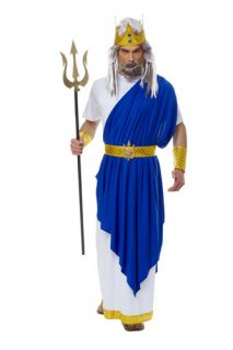 Blue Neptune Greek God Adult Costume Standard Size 42 46