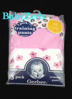 3 Gerber Baby Toddler Girl's Potty Training Pants Size 3T New