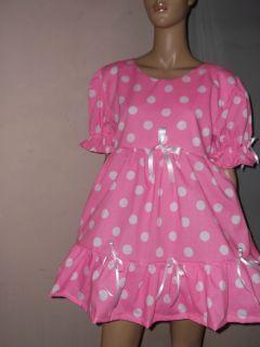 """Adult Baby Sissy Pink White Spotty Dress 44"""" Frilly Hem Net Petticoat"""