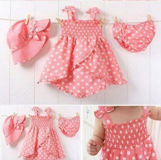 3pcs Kid Infant Baby Girl Polka Dot Dress Pants Hat Set Outfit Costume Clothes