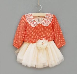 Kids Clothes Girls Baby Princess Orange Long Sleeve Tulle Tutu Dress Fit 3 Years