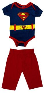Superman Logo Costume DC Comics Baby Romper Snapsuit w Pants 2 PC Set