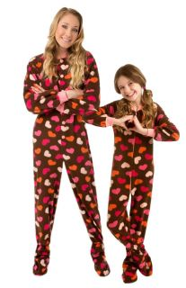 Big Feet PJs Brown with Hearts Footed Pajamas Adult Kids Infant Onesie