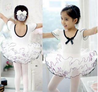 Girls Party Sleeve Leotard Pink Ballet Tutu 3 8Y Kids Costume Fairy Dance Dress