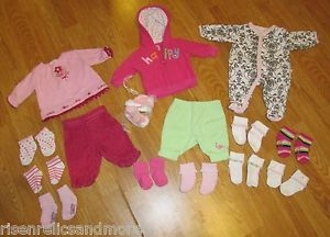 Lot of Newborn Baby Girl Clothes Shoes Socks Jacket PJ's Carter's 25 Pcs