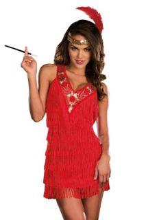 Sexy Red Cabaret Dress 1930s Flapper Halloween Costume