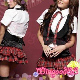 Sexy School Girl Plaid Skirt White Shirt Tie G String Cosplay Costume Lingerie