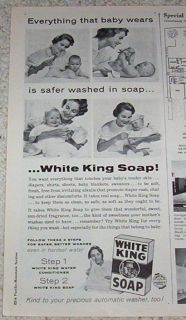 1958 Advertising White King Baby Diapers Clothing Laundry Detergent Old Soap Ad