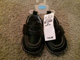 Baby Boy Black Loafer Shoes with White Stitching