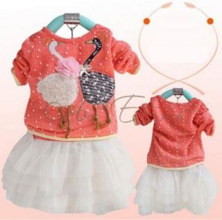 1pc Kids Baby Girls Swan Dress Knit Top Tulle Skirt Tutu Party Costume 1 4 Years
