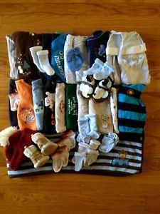 Big Lot Baby Boy Layette Fall Winter Clothes Shoes Socks Newborn 0 3 3 Months