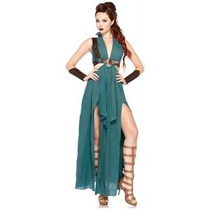 Warrior Maiden Costume Adult Greek  Roman Gladiator Halloween Fancy Dress