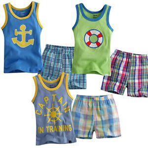Baby Toddler Kid Girl Boy Sleeveless Sleepwear Pajama Set Cool Shot Pant Clothes