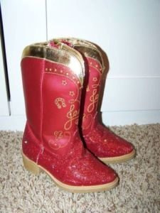 Toy Story Disney Jessie Cowgirl Boots Halloween Red Sparkle Shoes 9 10