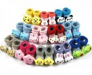New Cute Cartoon Fall Winter Newborn Baby Infant Slipper Terry Socks Shoes 0 6M