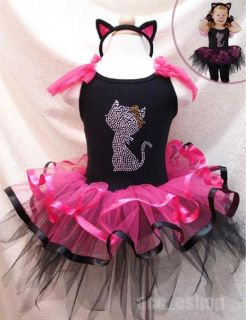 Christmas Halloween Kitty Cat Girls Party Costume Ballet Leotard Tutu Dress 2 8Y