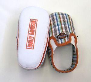 Harley Davidson Baby Boy Pre Walker Shoes Slip on Plaid Infant Sneakers