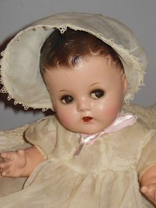 Vtg Ideal Composition Flirty Eyes Baby Doll Original Clothes 16 in Nice Doll