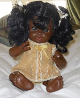 "Vintage Shindana African American Baby Nancy Doll in Original Clothes 12"" Tall"