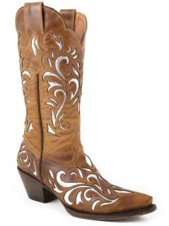 Stetson Cowgirl Boots Womens Distressed Brown Silver Laser Cut Underlay Snip