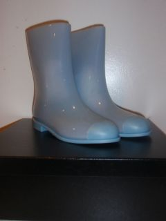 Auth Chanel Baby Blue Mid Calf Rain Boots Logo 40 10 New