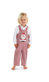 Mud Pie Christmas Boys St Nick Santa Striped Corduroy Overalls Jon Jon 0 18M