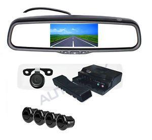 """5"""" Universal Car Rear View Parking Mirror Monitor 2 Way Camera Display 4SENSORS"""