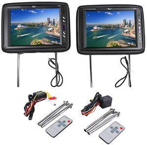 "TView T120PL BK 12"" Black Car Headrest Widescreen TFT LCD Monitors w Remotes"