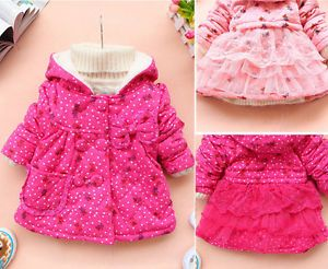Cute Baby Girls Bear Polka Dot Clothes Candy Color Winter Jacket Gown Clothing
