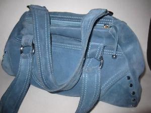 Desmo Lightly Used Unique Baby Blue Suede Handbag with Silver Hardware