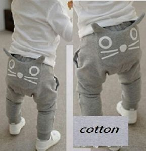 "Cartoon ""Whisker Cat"" Pants Trousers Leggings Baby Boys Kids Clothing 5 6Y Grey"