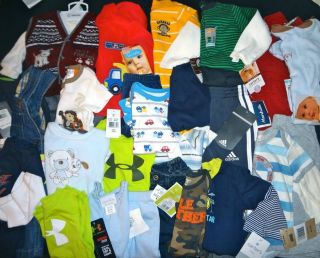 50 Piece Boys Spring Summer Fall Wholesale Resale Clothing Lot 3 24 MTH