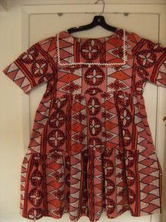 Vintage Hawaiian 70s Mumu Baby Doll Dress Red Pinks White Black Orange XL