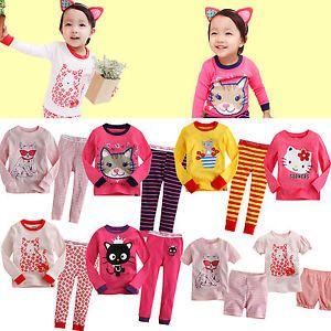 """Baby Toddler Kid Girl Clothes Cat T Shirt Sleepwear Pajama Set""""Kitty Set"""""""