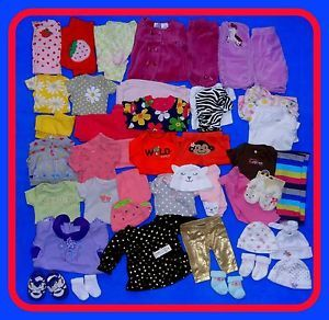 41 Piece Baby Girl Newborn Winter and Spring Clothes Lot 13