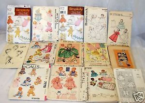 Lot of 14 Vintage Baby Doll Sewing Patterns Clothes Girl Hats and Rag Doll