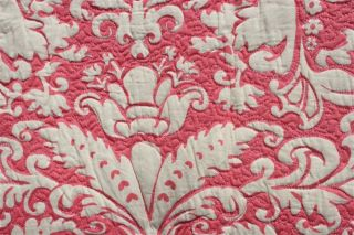 Pine Cone Hill Grace Damask Pink White Full Queen Quilt Q213PYFQ 100 Cotton