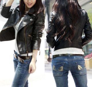 Womens Vintage Slim Biker Motorcycle PU Soft Leather Zipper Basic Jacket Coat
