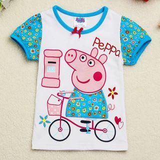 Cute Baby Girls Peppa Pig Short Sleeves Bow Bike T Shirt Tops Clothing 18M 6Y