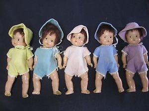 Madame Alexander 1930s Set of 5 Dionne Quintuplet Baby Dolls Original Clothing