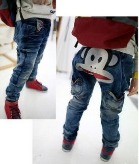 BNWT Korean Designer Boys Jeans with Large Cartoon Monkey Face UK Sizes 3 8years