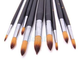 9 Artists Paint Brush Set Round Pointed Tip Nylon Hair Watercolor Acrylic Brush