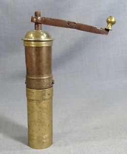 19c Ottoman Turkish Brass Iron Coffee Grinder Hand Crank Mill Sultan Tughra Mark