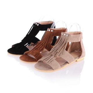 Summer Women Seude Tassels Rivet Roman Gladiator Sandals 3 Colors XWZ074