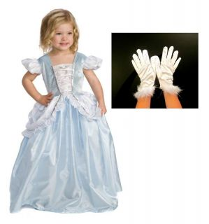 Girls Cinderella Costume and Dress Up Bundle with White Gloves Child Sizes